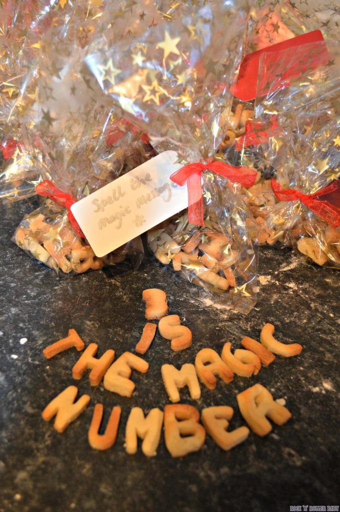This was one of the party favours with a bag of biscuits to spell out the magic message!