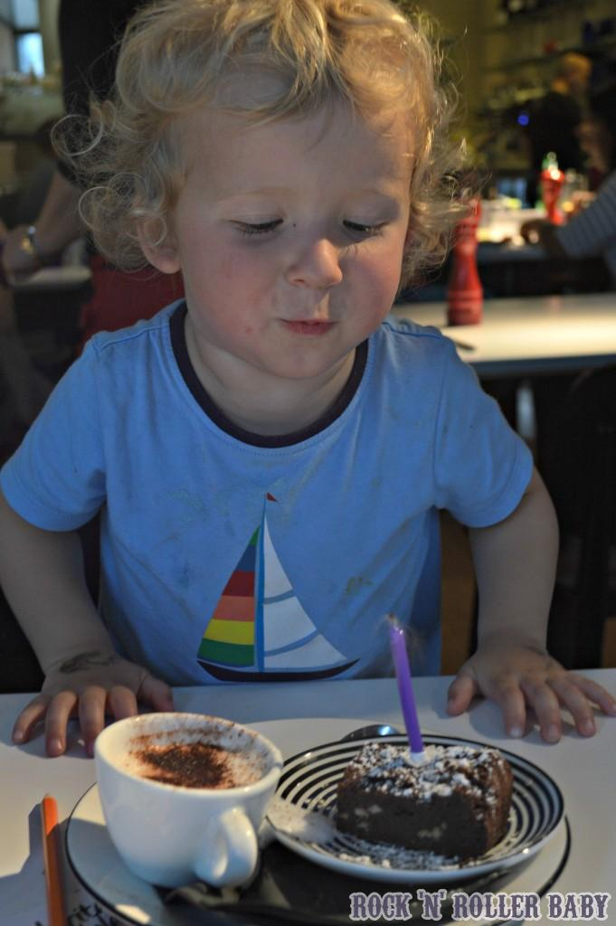 The last of the celebrations at Pizza Express with a candle in his chocolate Brownie for pudding. It was one of the loveliest meals we have ever had at PE and that's saying something!