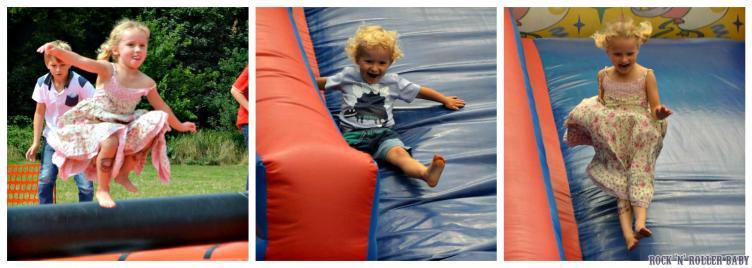 Circus skills and bouncing fun at a local to my Mum fundraising family fun day.