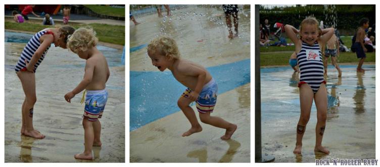 Playing in the splash zone in Waterloo Park, Norwich!