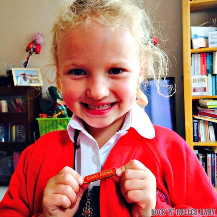 Florence proudly wearing her school council badge!