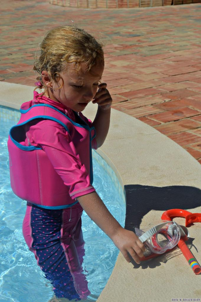 Florence using her Miss Zoggy Bobbin jacket on ur recent holiday while she mastered the art of the snorkel and mask. She can swim now but the jacket still comes out now and again!