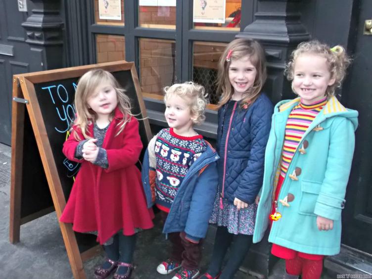 The children descend on Ma Plucker's!