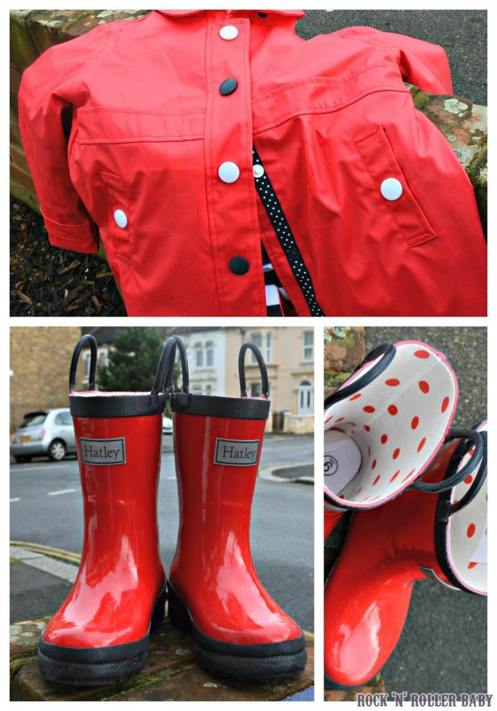 Red, red, red with new Hatley rain boots and coat!