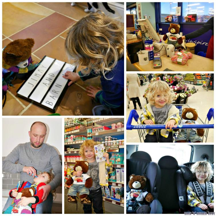 Learned how to spell on the light board, went to Hobby craft and worked behind the till (of course), came to tesco (don't say we don't do all the fun stuff!), brished his teeth every morning and night and went shopping for cake baking supplies! We took Barnaby The Bear's safety very seriously at all times so he got strapped in to a car seat just like his carer for the week!