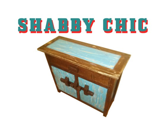 Shabby Chic Cabinet, Blue and Distressed
