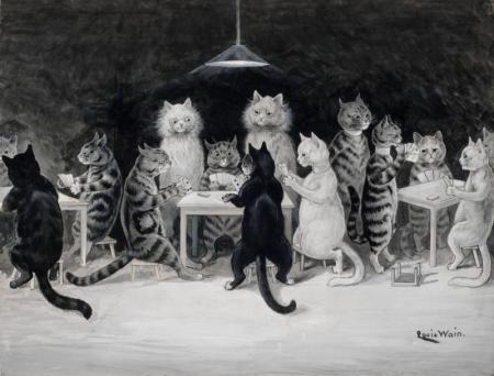 Louis Wain pisici care joaca bridge