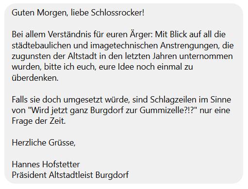 Nachricht Altstadtleist Burgdorf