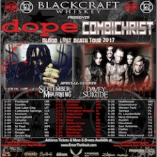 DOPE / Combichrist Announce Blood, Lust, Death 2017 Tour Sponsored by Black Craft Whiskey