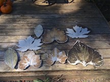 Assorted concrete leaves