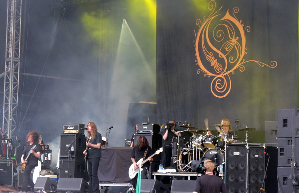 Opeth on stage at Download 2009