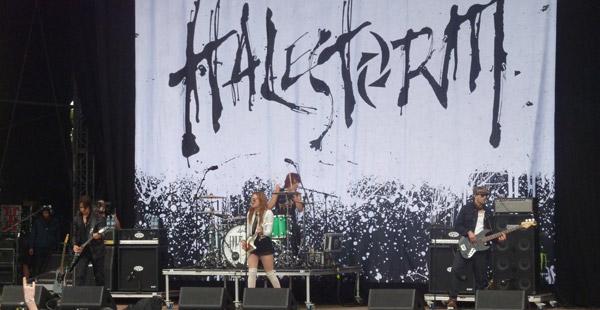 Halestorm on stage at Download 2012