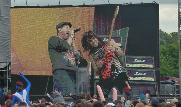 Corey Taylor and Satchel from Steel Panther on stage at Download 2012