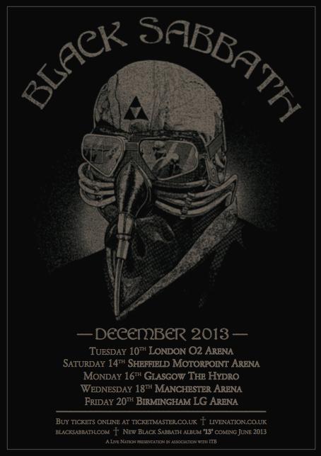 Black Sabbath 2013 UK Arena Tour Poster
