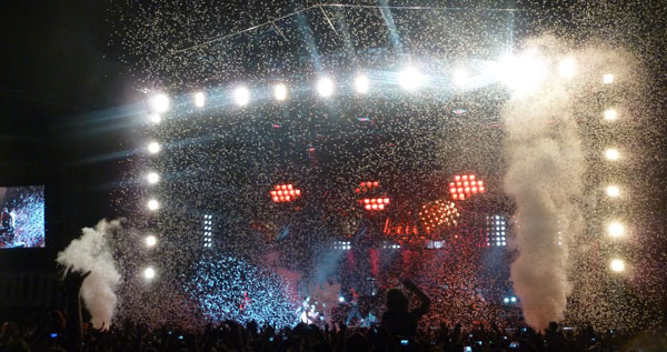 The end of Rammstein's performance at the 2013 Download Festival