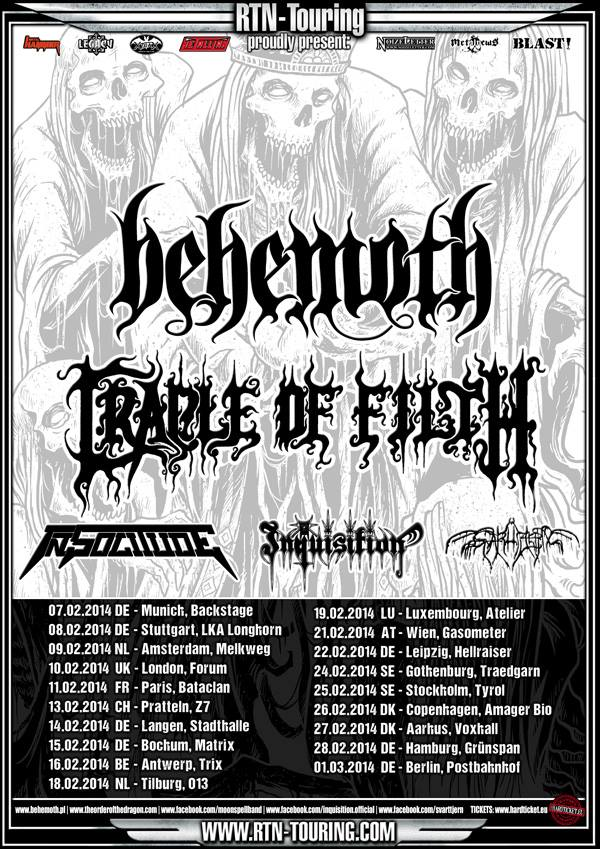 Behemoth Cradle Of Filth European Tour Poster 2014