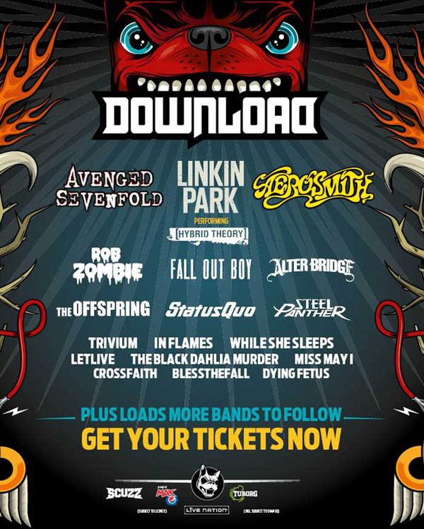 Download Festival 2014 newest line up poster