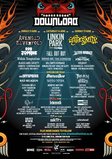 Download Festival 2014 Stage Day Split Poster
