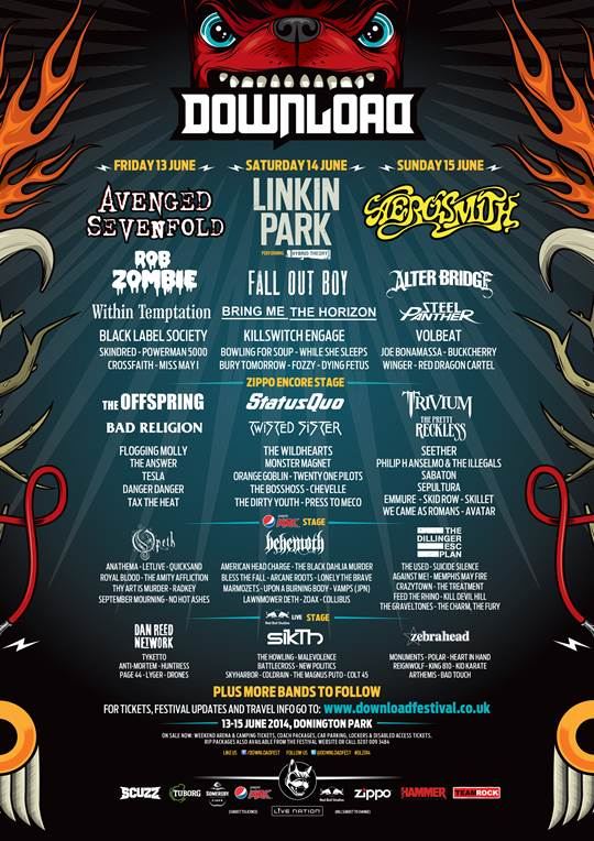 Download Festival 2014 Line Up March 24th Poster