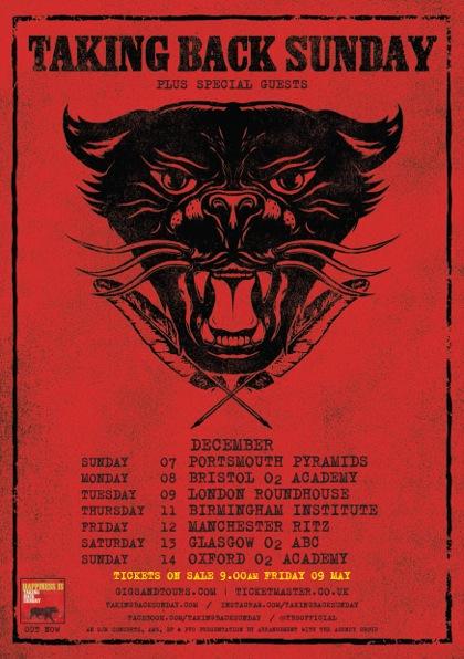 Taking Back Sunday December 2014 UK Tour Poster