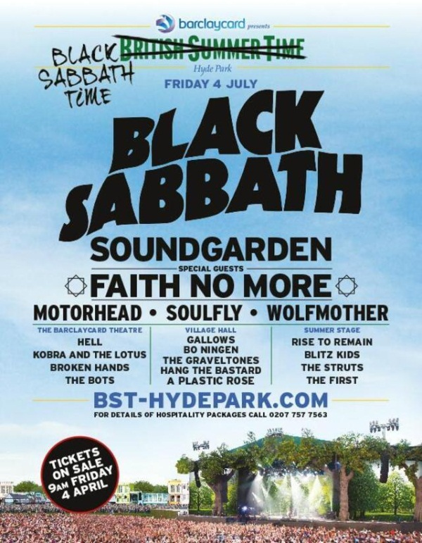 British Summer Time Festival Black Sabbath 2014 Poster