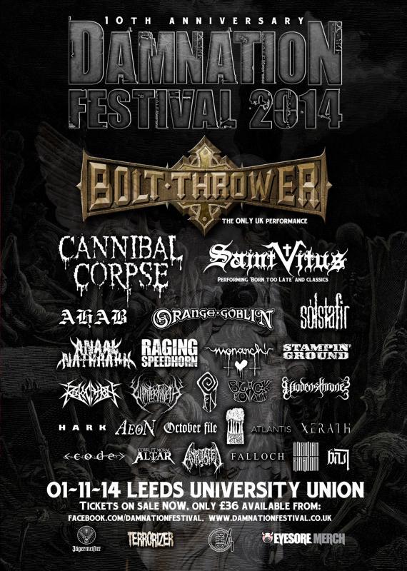 Damnation Festival 2014 Final Line Up Poster