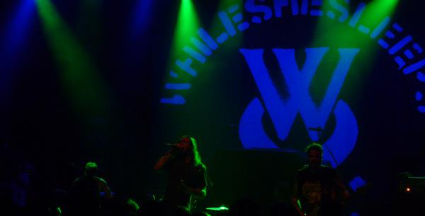 While She Sleeps on stage at Shepherds Bush Empire London 2014
