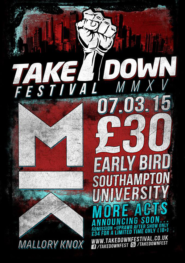 Takedown Festival 2015 Mallory Knox Headliners Poster