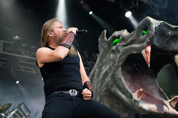 Amon Amarth's Johan Hegg on stage at Bloodstock Open Air Festival 2014