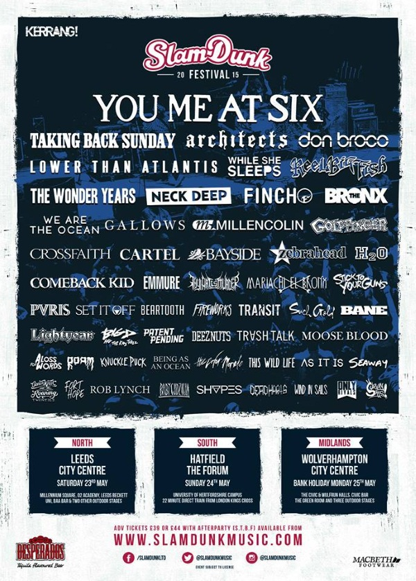 Slam Dunk Festival 2015 Final Line Up Poster