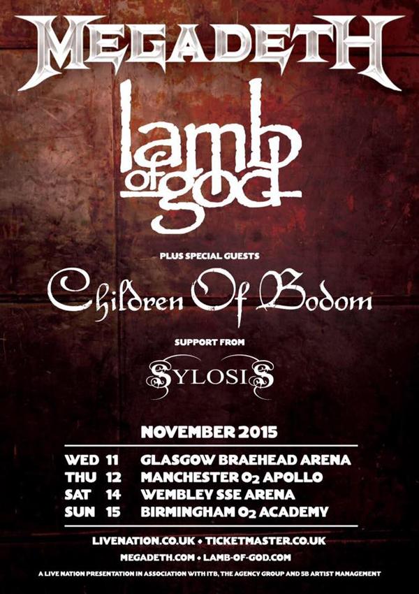 Megadeth Lamb of God Children Of Bodom Sylosis 2015 UK Tour Poster