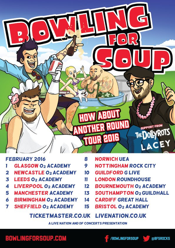 Bowling For Soup The Dollyrots and Lacey How About Another Round 2016 UK Tour Poster