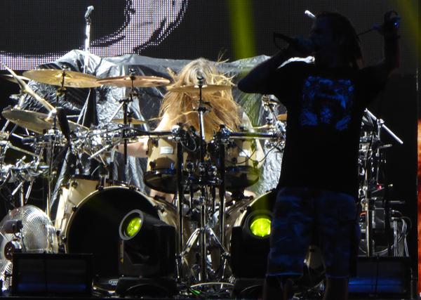 Lamb of God's Chris Adler and Randy Blythe on stage at Wembley Arena November 2015
