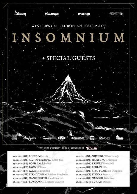 Insomnium Winters Gate European Tour Jan 2017 Poster