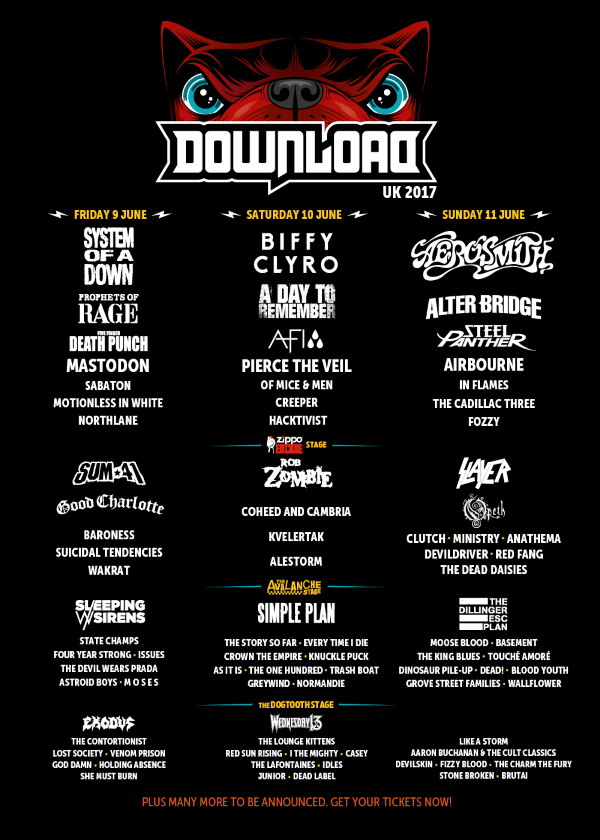 Download Festival 2017 February Line Up Poster