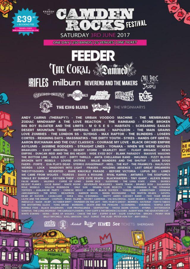 Camden Rocks Festival 2017 Sixth Line Up Poster