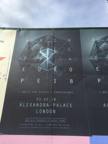 Architects While She Sleeps Counterparts Alexandra Palace Show Poster From Reading 2017