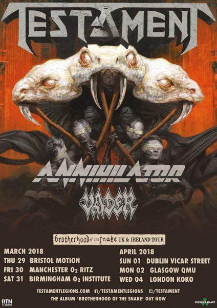 Testament Brotherhood Of The Snake 2018 UK Tour Poster