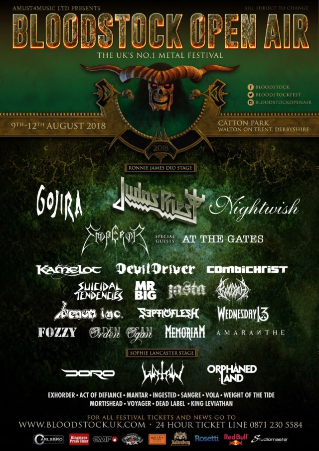 Bloodstock Open Air Festival 2018 Line Up Poster 6th Feb