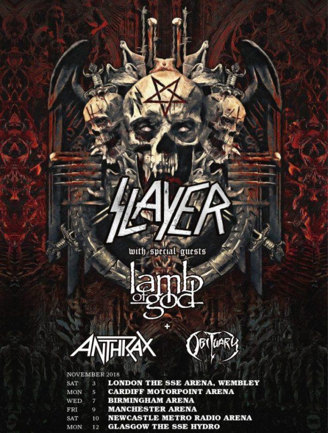 Slayer UK Farewell Tour Poster November 2018