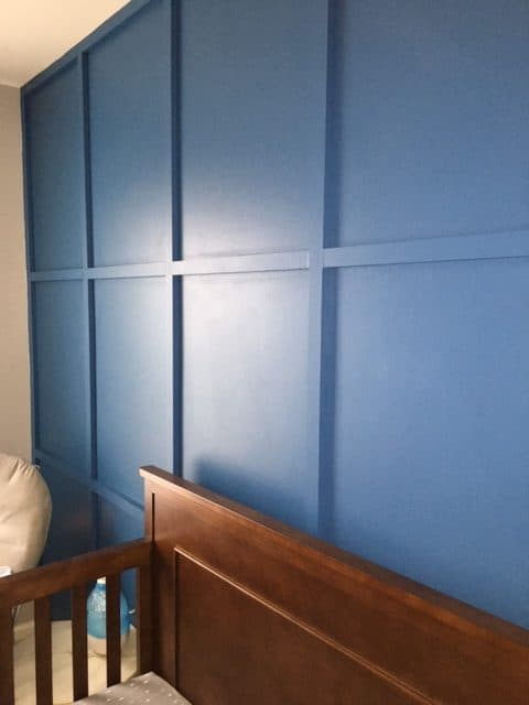 baby boy nursey with accent wall