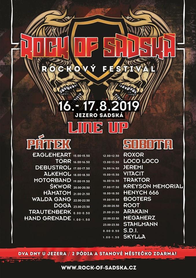 Line up festivalu Rock of Sadská 2019