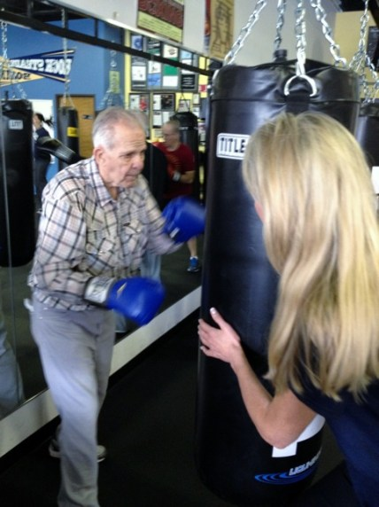 Anne on bags with boxer