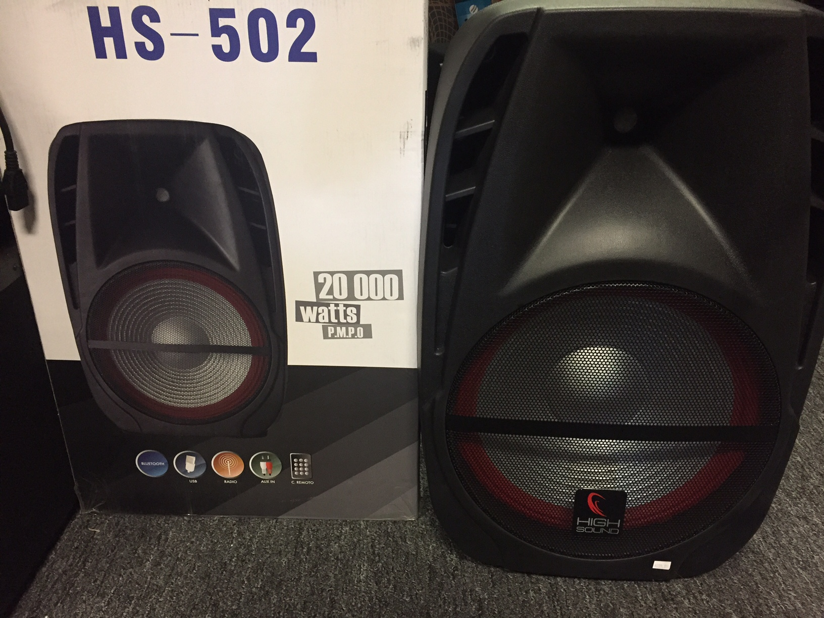 High sound Hs-502 | demo powered loudspeaker | Bluetooth | Mic | built in  led light show | Mp3 | No shipping - Rocktown Music