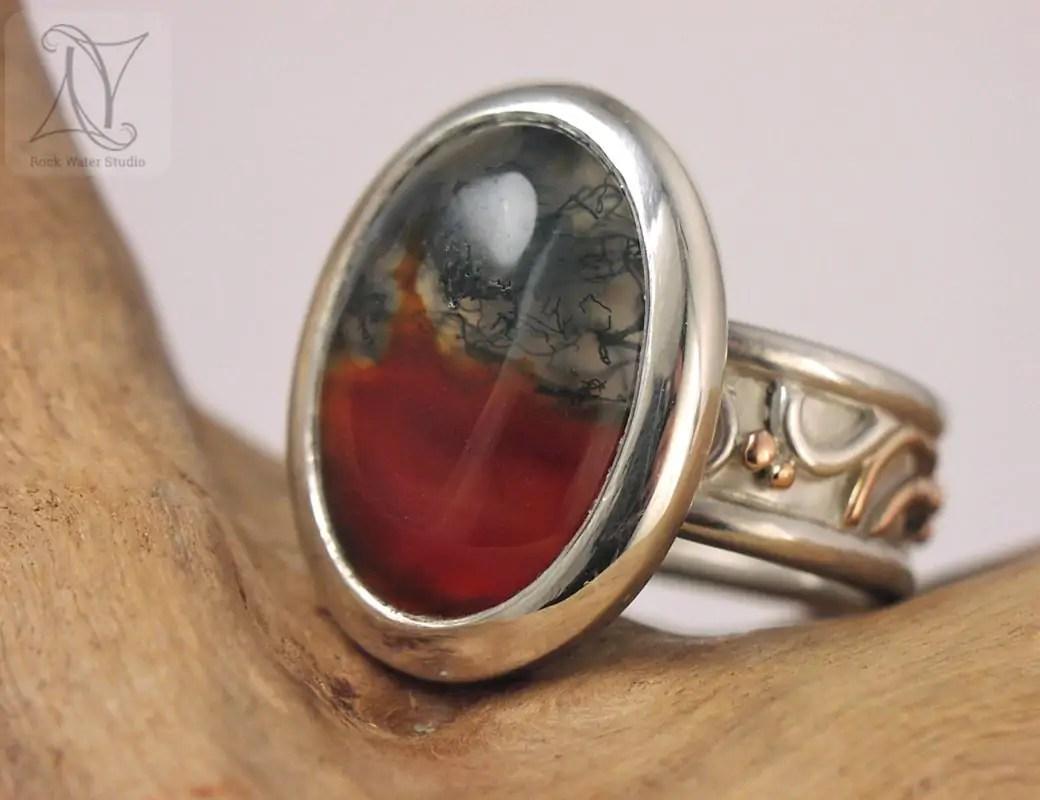 Moss Agate Libretto Ring