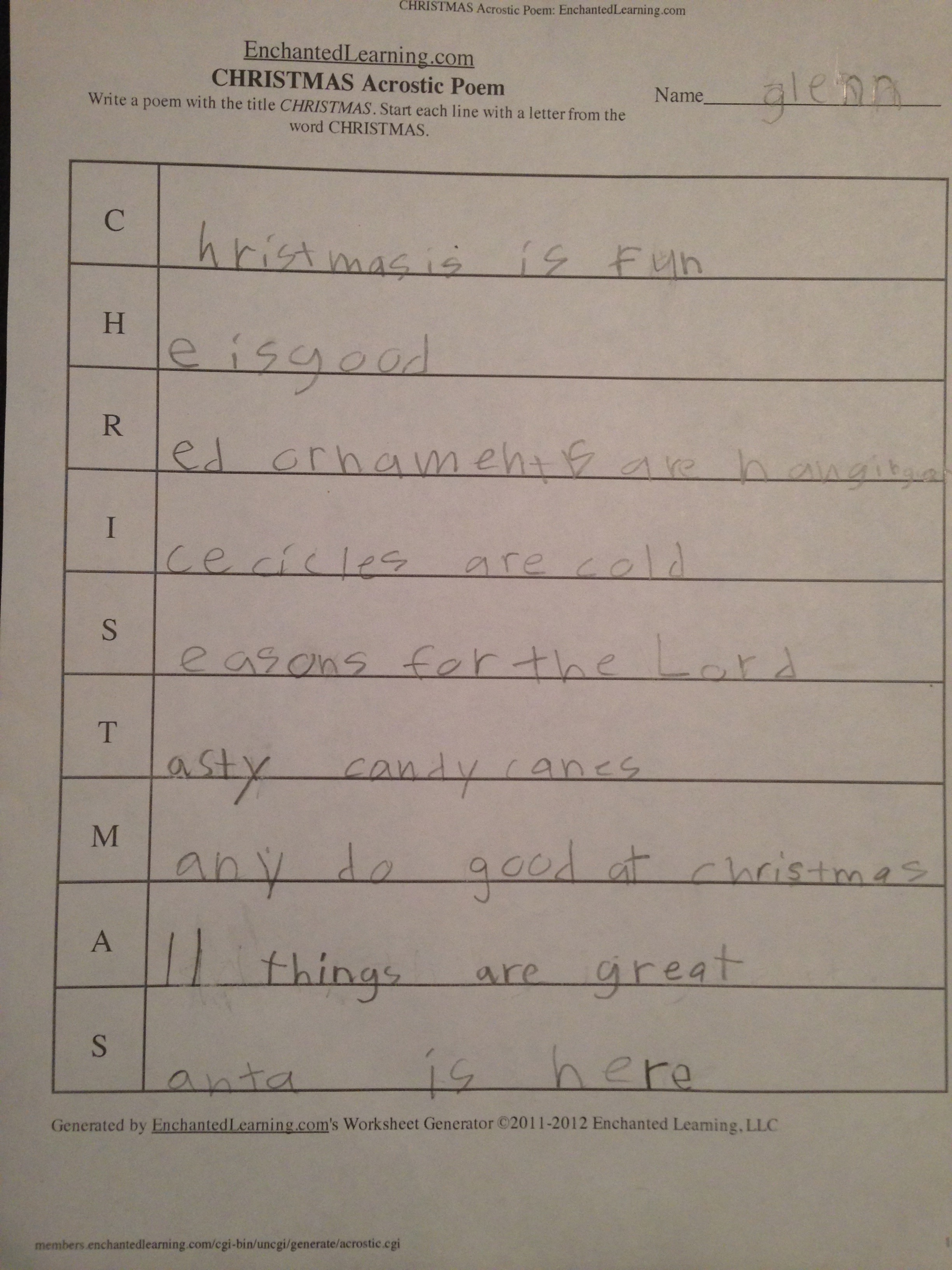 A Touch Of Poetry Acrostic Christmas