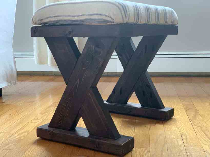 Farmhouse X Leg Bench Rocky Canyon Rustic