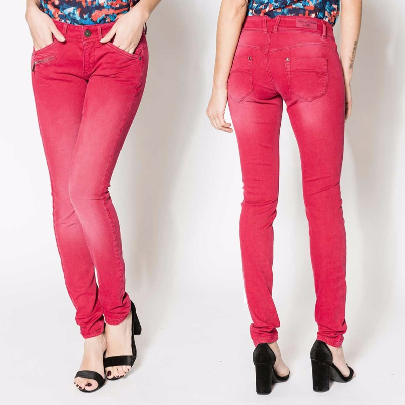 Le Meilleur Jean Slim Femme Freeman T Porter Coralie Magic Color Rouge Ce Mois Ci
