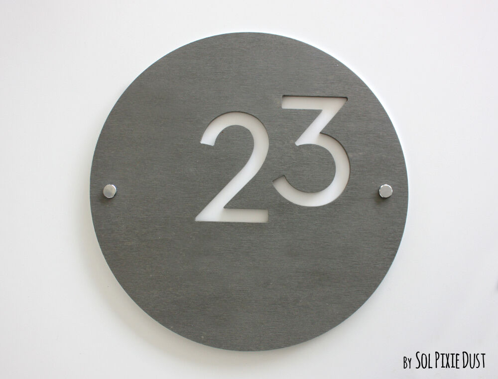 Le Meilleur Modern House Numbers Round Concrete White Acrylic Ce Mois Ci
