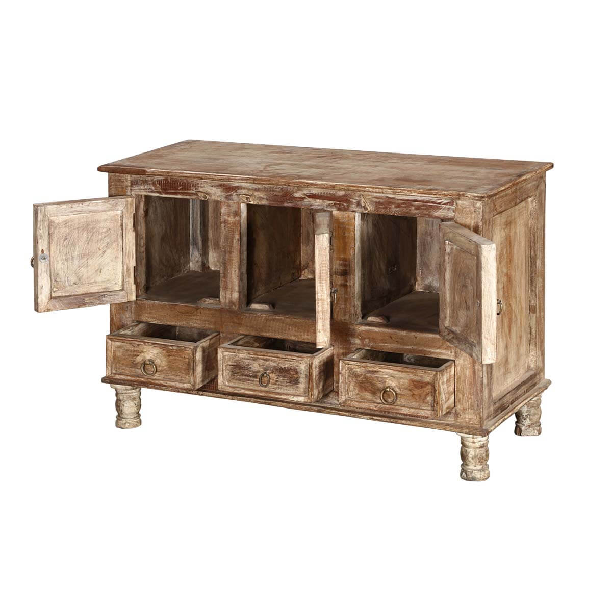 Le Meilleur Brice Distressed Finish 3 Door 3 Drawer Sideboard Cabinet Ce Mois Ci